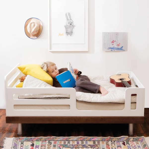 Oeuf Classic Toddler Bed in White and Walnut