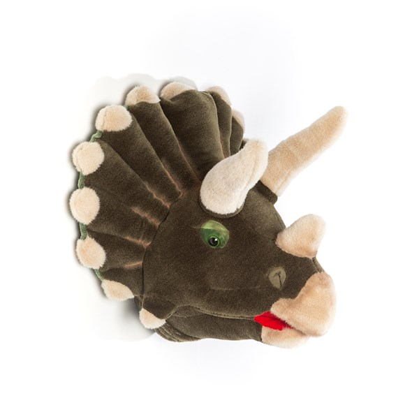 Adam the Triceratops Dinosaur Kids Plush Animal Head Wall Decor