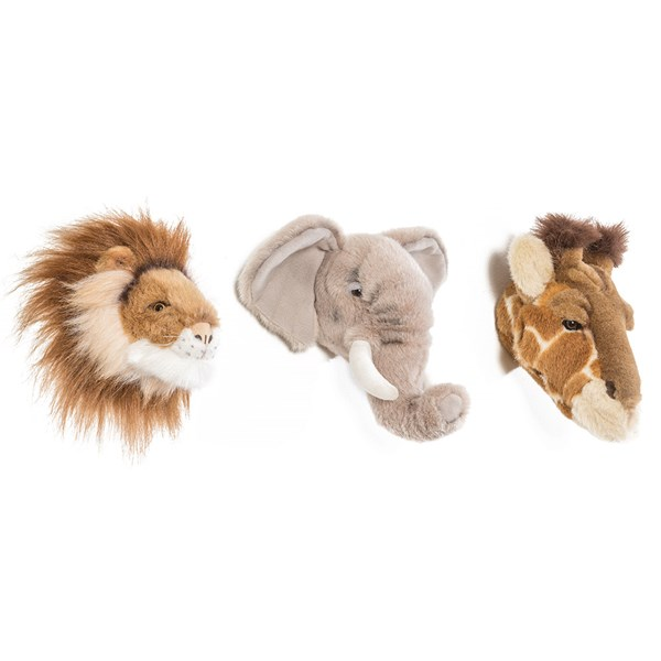 Safari Box Set of 3 Kids Mini Animal Wall Heads