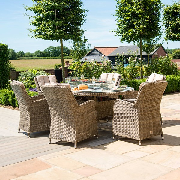 Maze Rattan Winchester Oval Fire Pit Dining Set with Venice Chairs