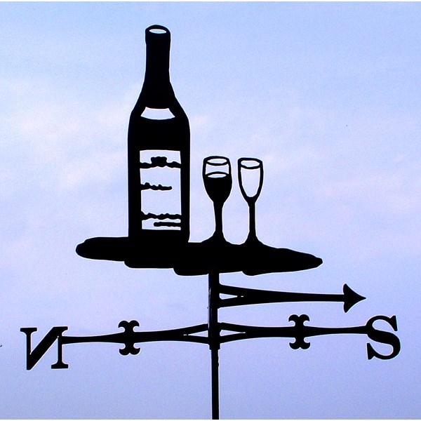 WINE BOTTLE & WINE GLASSES WIND VANE
