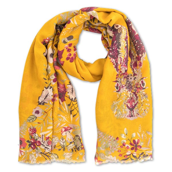 Powder Forest Hare Print Scarf in Mustard Yellow