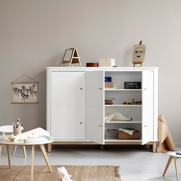 Oliver Furniture Wood Multi Storage Cupboard in White & Oak