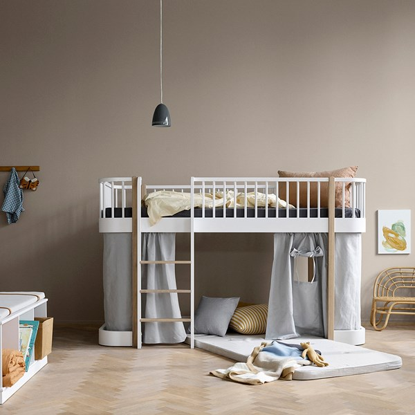 Oliver Furniture Wood Children's Low Loft Bed in White & Oak