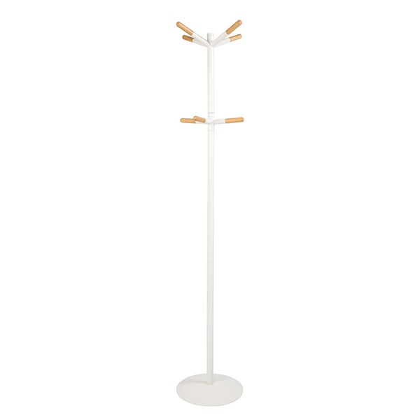 Zuiver White Coat Stand with Wooden Tips in Scandinavian Style
