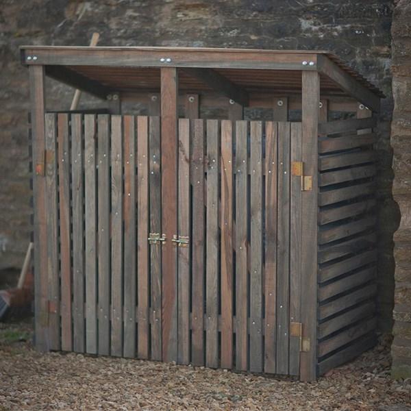 Wooden Double Wheelie Bin Storage