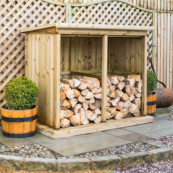 Superior Treated Outdoor Wooden Log Store