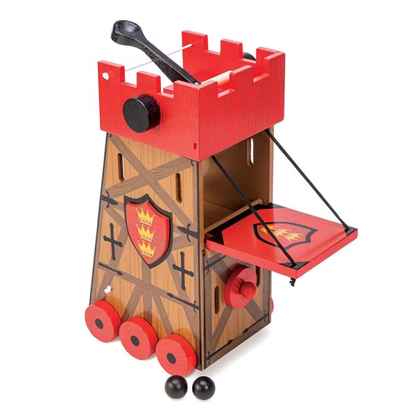 Red Firing Assault Tower with Cannon Balls