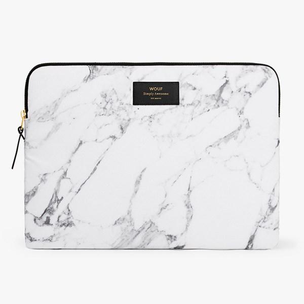 Wouf White Marble Laptop Sleeve 13 Inch