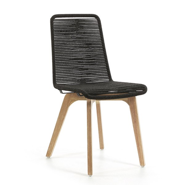 Pair of Glendon Rope Dining Chairs in Dark Grey
