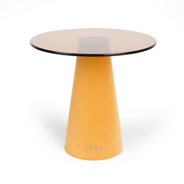 Yellow Accent Table with Flocked Base