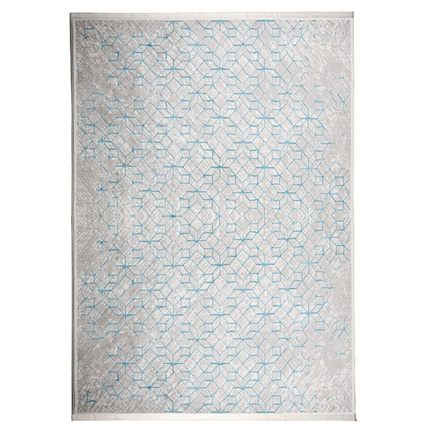 Yenga Geometric Woven Floor Rug in Blue