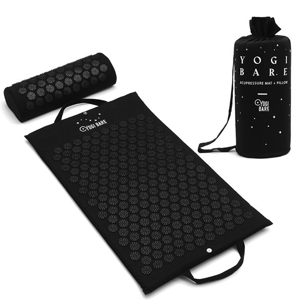Acupressure Mat and Pillow in Black