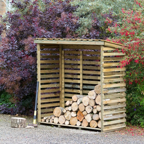 Large Wooden Log Store with Back