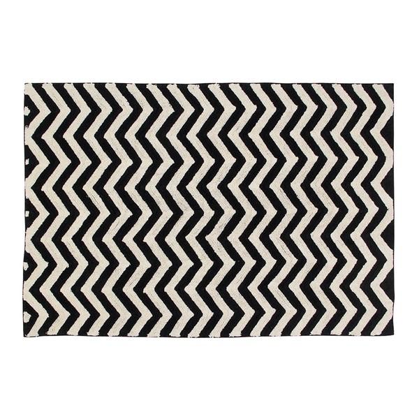 Monochrome Black and White Rug in Chevron Design