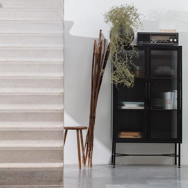 Black Display Cabinet with 2 Doors
