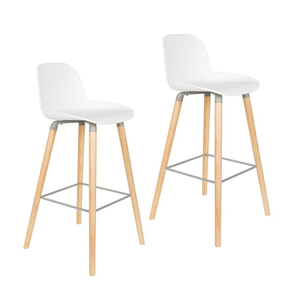 Zuiver Pair of Albert Kuip Retro Moulded Bar Stools in White