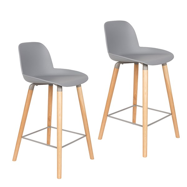 Zuiver Pair of Albert Kuip Retro Moulded Counter Stools in Light Grey