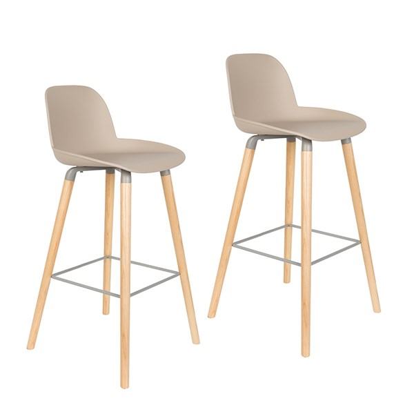 Zuiver Pair of Albert Kuip Retro Moulded Bar Stools in Taupe