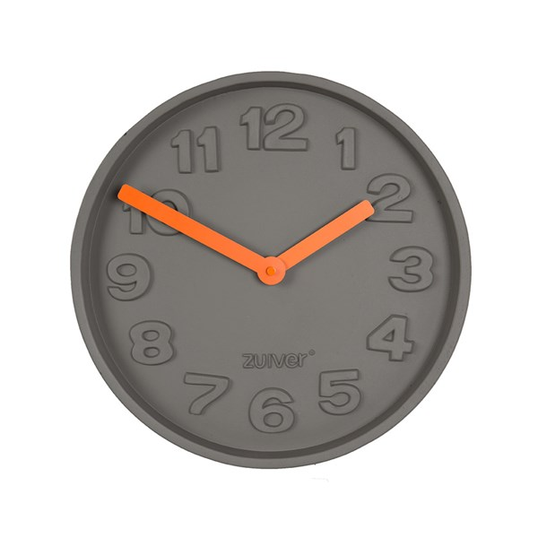 Zuiver Concrete Time Clock with Orange Hands
