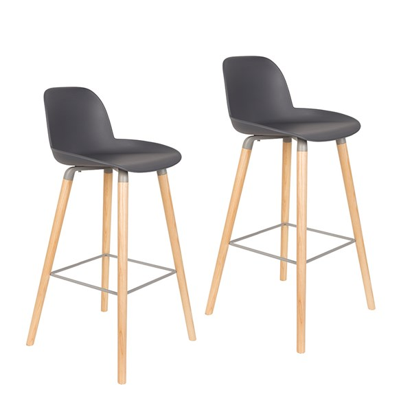 Zuiver Pair of Albert Kuip Retro Moulded Bar Stools in Dark Grey