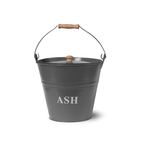 Metal Fireside Bucket with Lid in Charcoal
