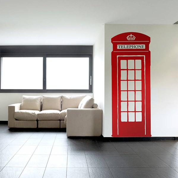 CLASSIC BRITISH RED TELEPHONE WALL STICKER