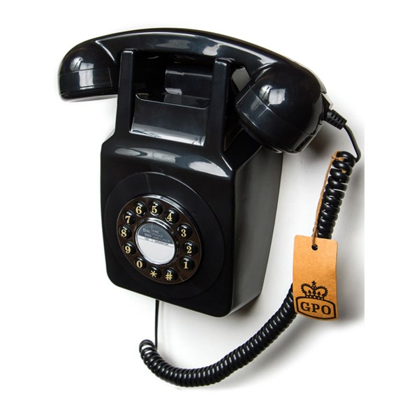 Retro Wall Telephone in Black
