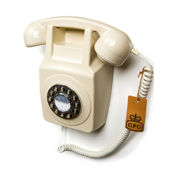 Retro Wall Telephone in White Ivory