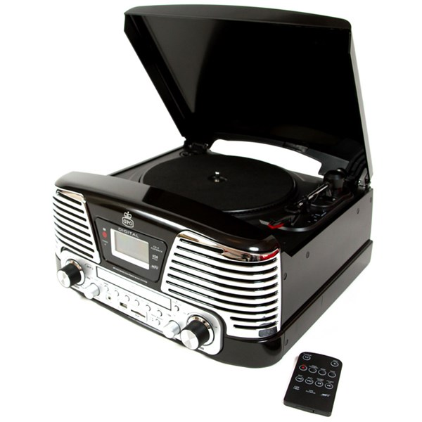 Black Memphis Retro Record Player with MP3, FM Radio & CD Deck