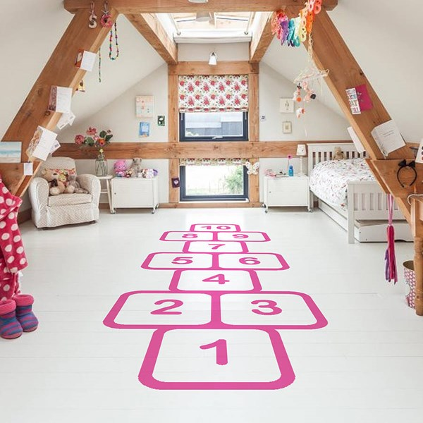 Pink Hopscotch Floor Stickers
