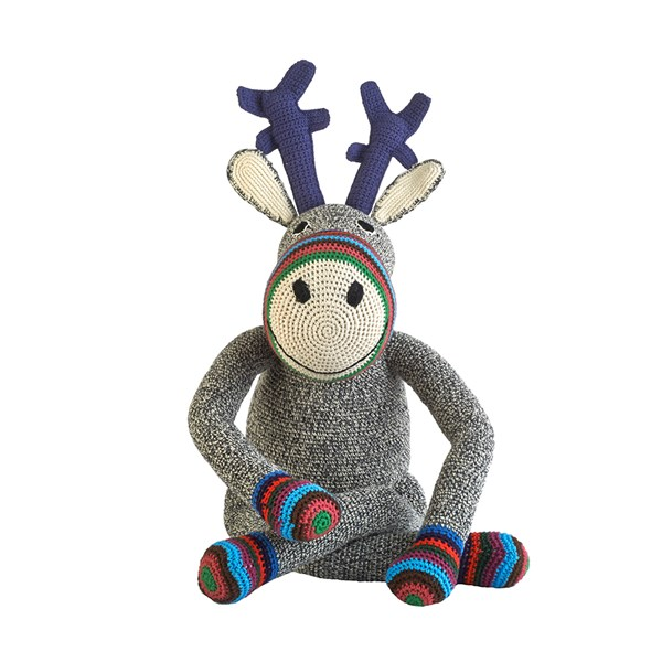 Anne Claire Petit Mama Reindeer Toy in Dark Grey Stripe