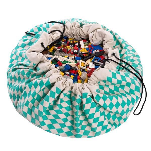 Play & Go Toy Storage Bag in Green Diamond Design