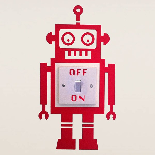 ROBOT LIGHT SWITCH WALL STICKER in Red