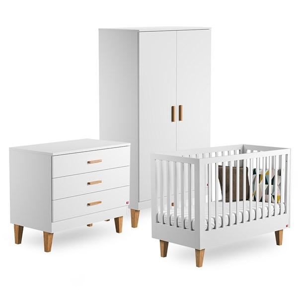 Vox Lounge Cot Bed 3 Piece Nursery Set in White & Oak