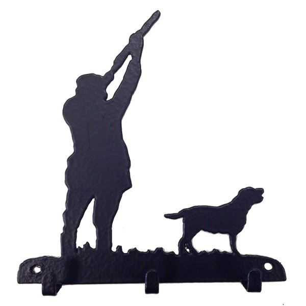 Key Rack with 3 Hooks in Shooting Dog Design