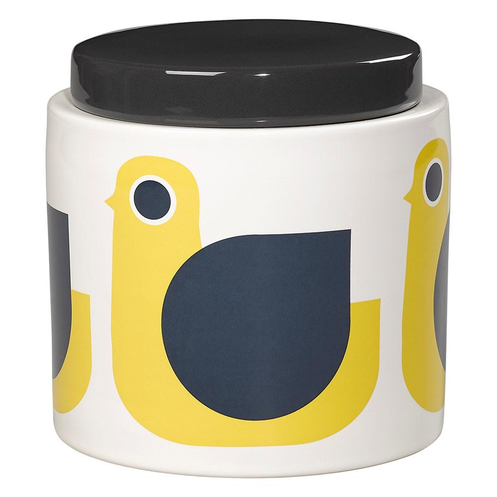 Orla Kiely Ceramic 1l Storage Jar In Sunshine Yellow Hen Print