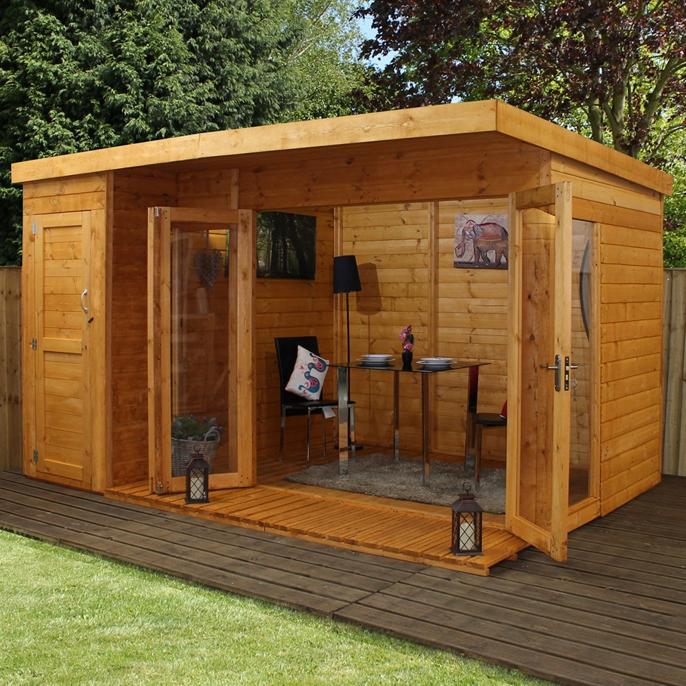Summer Garden House: Garden Summer House With Side Shed By Mercia