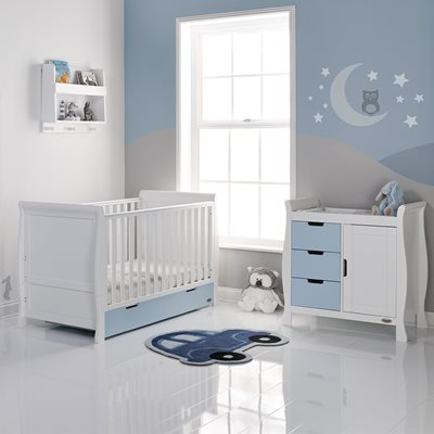 OBABY STAMFORD SLEIGH COT BED 2 PIECE NURSERY SET in Bonbon Blue and White with Free Mattress
