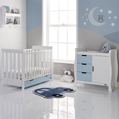 OBABY STAMFORD MINI SLEIGH COT BED 2 PIECE NURSERY SET in Bonbon Blue and White with Free Mattress