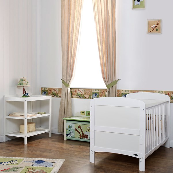 Obaby Grace Cot Bed 2 Piece Nursery Furniture Set in White