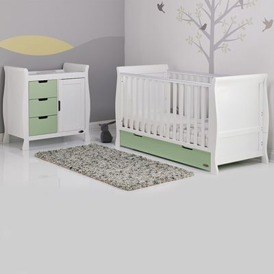 STAMFORD COT BED 2 PIECE NURSERY SET in Pistachio Green and White by Obaby