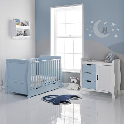 STAMFORD COT BED 2 PIECE NURSERY SET in Bonbon Blue by Obaby