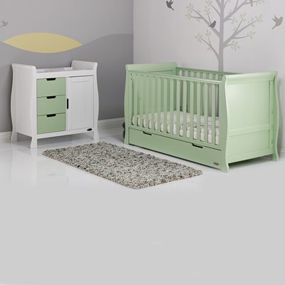 STAMFORD COT BED 2 PIECE NURSERY SET in Pistachio Green by Obaby
