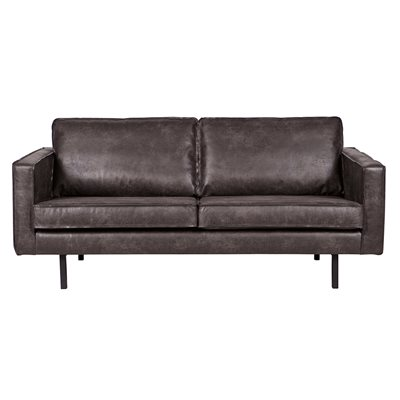 Rodeo 2 Seater Leather Sofa in Black by Be Pure Home