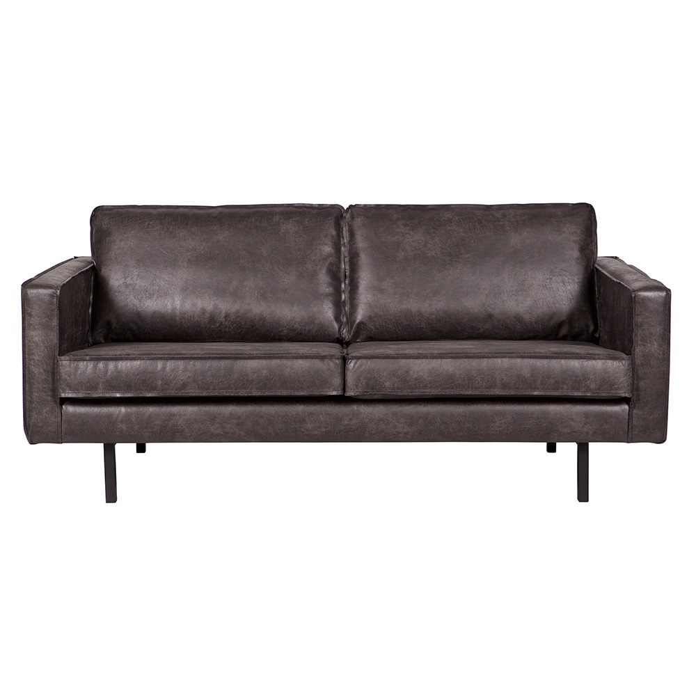 rodeo 2 seater leather sofa in black be pure home cuckooland. Black Bedroom Furniture Sets. Home Design Ideas