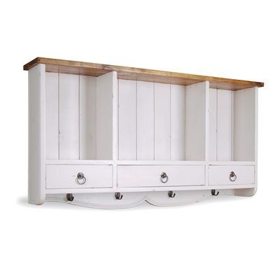 3 DRAWER WALL RACK in Antique White