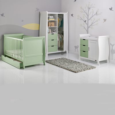 STAMFORD COT BED 3 PIECE NURSERY SET in Pistachio Green by Obaby