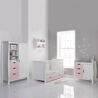 Obaby Stamford Sleigh Cot Bed 3 Piece Nursery Set in Eton Mess & White
