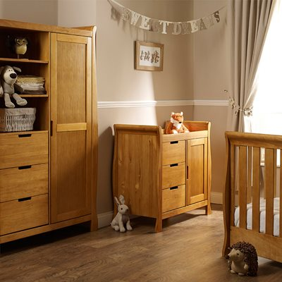 STAMFORD MINI COT BED 3 PIECE NURSERY SET in Country Pine by Obaby